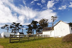 Seaside ranch (mrperry) Tags: ranch old trees sky house clouds barn fence nationalpark nationalseashore piercepoint