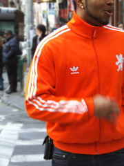 Adidas Orange (kchbrown) Tags: street nyc urban orange male logo beard soho adidas warmup 3stripes