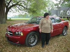 Mary Clark and Her Hemi (Old Shoe Woman) Tags: usa georgia hemi hahira onthefarm redsportscar maryclark foodforourfamily