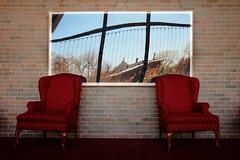Have a Seat (Reflect), St. Paul, Minnesota (Seven Seconds Before Sunrise) Tags: distortion reflection brick college minnesota wall chair stpaul frame twincities csc oshag oshaughnessyauditorium derham impressedbeauty