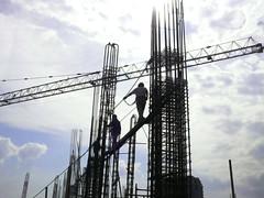 construction walk (jobarracuda) Tags: sky work lumix worker constructionworker buildingworks fz50 constructionworks panasoniclumix safetyhelmets jobarracuda