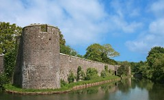 Fortified Wall & Moat - Bishop's Palace, Wells (G w Clark) Tags: uk england reflection water bluesky wells palace fortification moat battlement fortified peopleschoice bishopspalace cityofwells