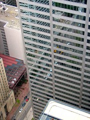 A street goes through it (viviloob) Tags: street city urban toronto ontario canada reflection building architecture skyscraper skyscrapers perspective down structure reflect reflective tall birdseye cibc tdcentre torontodominioncentre torontodominion utataview