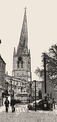Crooked spire. Chesterfield Derbyshire. (wilstony1) Tags: crookedspire church building outdoor architecture street bw greyscale samsunggalaxys5 streetview sketch