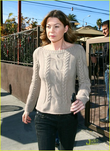 Ellen Pompeo Lazy Cable Sweater