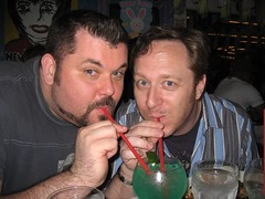 Steve and Tim share one last blue margarita at El Conquistador. (03/31/07)