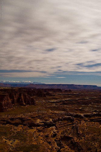 La Sal mountains and White Rim by moonlight