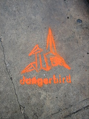 IMG_3968 (tantek) Tags: orange austin stencil origami tx sxsw tagging needstags sxswmusic needsnotes dangerbird sxswm sxsw2007 sxswmusic2007 upcoming:event=95527 sxswm2007