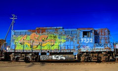 Graffiti Express #1 (St Paul Paul) Tags: color minnesota train graffiti diesel engine rail twincities saintpaul hdr abigfave
