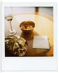 still life in the champagne lounge (flybutter) Tags: film polaroid qm2 redhook slr680 flybutter beforeitbroke everybodylovesgoldfish evenreallyclassypeople beforethemotorbroke britanniaball