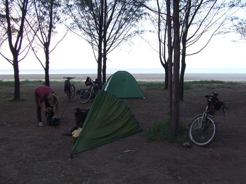 Wild camping on the mosquito infested beach...