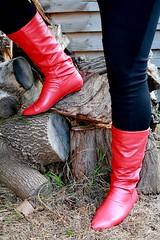 At the woodpile (Christie Jane) Tags: red tv boots cd crossdressing tgirl transgender tranny transvestite crossdresser crossdress gurl tg redboots trannie xdressing jodhpurs tallboots xdress tgurl calfboots xdressresser