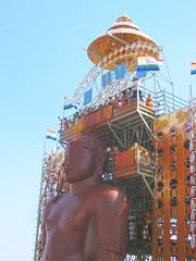 The gilded umbrella for Bahubali (arunram25) Tags: india statue festival ceremony 2006 karnataka jain bahubali monolithic shravanabelagola mahamastakabisheka abisheka