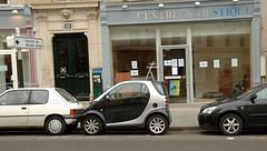Tiny Car (Mr. Physics) Tags: auto city trip travel vacation paris france smart car nikon automobile europe honeymoon d2x vehicle nikondigital smartcar parisfrance cityoflights msoller
