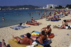 F-0124.jpg (Alex Segre) Tags: sea summer vacation people holiday beach sanantonio islands seaside spain mediterranean sunny tourists ibiza recreation sunbathing crowded balearic balearics alexsegre