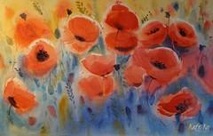 Red Poppies (katekos) Tags: watercolor watercolour akwarela art katekos painting aquarelle flowers floral floralwatercolor kwiaty meadow poppies poppy red blue redandblue cornflowers