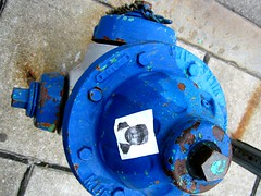 have you seen me? (atomicity) Tags: hydrant sticker blue ongrey