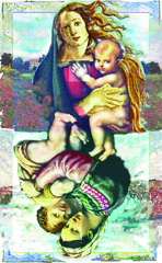 Madonna&Child.2 (Mary Bogdan) Tags: wow interestingness published artist child assemblage mixedmedia madonna illustrations napoleon raphael henryviii playingcards exhibited marybogdan exhibitedworks mixedmediapaintings madonnachild bottichelli