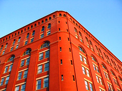 Archive Building Img_0652 (Lanterna) Tags: nyc windows sky orange newyork color building brick architecture contrast 19thcentury warehouse massive lanterna greenwichvillage christopherstreet canonpowershota75 archivebuilding federalarchives