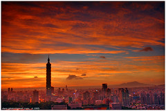a dreamy place... (*dans) Tags: sunset sky cloud skyline skyscraper taiwan 500v50f highrise taipei taipei101 pleaseaddanappropriatedescriptionortagbeforeresubmittingtocreamofthecrop sunsetclouds skyplay