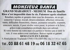 Monsieur BANFA Inspector Clay Tags Flyer Marabout Magopinciophilie Tract Carte Card Marketing Streetmarketing