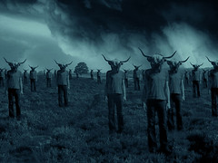 I think it's gonna Rain (Mattijn) Tags: blue danger cow gloomy ominous horns surreal eerie fantasy gathering horror photomontage clone invasion mattijn scarystuff