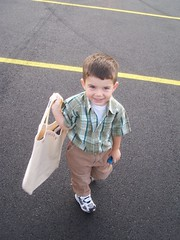 My then almost 3-year older's first day of school