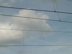 Sky Wires (A Princess) Tags: sky trees clouds londonskyline view horizon vapourtrail