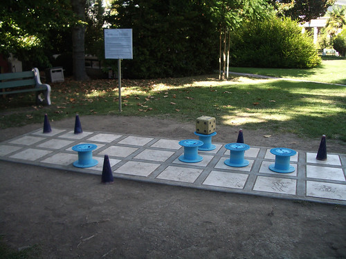 Giant senet board outside the Rosicrucian Museum in California, photo by Raymond Yee