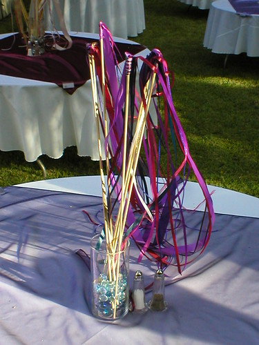 Here 39s a great photo of homemade wedding wands with ribbon