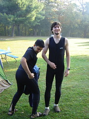 Jeff T and Avneesh (decidedlyodd) Tags: wetsuit westvirginia rafting gauleyriver avneesh jefft