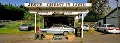 God botherers (@fotodudenz) Tags: newzealand panorama film creek is christ garage jesus rangefinder canterbury lord hasselblad xpan 45mm saltwater withshazbot believeinfilm