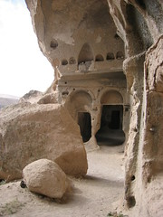 this is the entrance to an old church cave compound carved into the rock (SooozhyQ) Tags: favorite church cave cappadocia turchiatürkiye