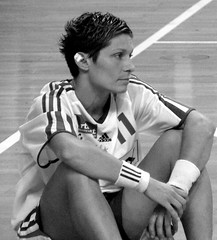 Defeated (Magali Deval) Tags: stéphaniecano paris handball france sport portrait grain bw blackandwhite pierredecoubertin stadium womenonly athlete woman october2005 15fav topv111
