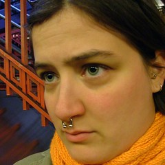 come on, train. (Miss Plum) Tags: october 2005 speedline station waiting self selfportrait me missplum addie underground orange camden nj patco clapotis scarf gift
