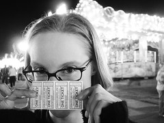 Fair Maiden. (Lanna Grace) Tags: carnival blackandwhite bw topf25 wow fun tickets 100v lights glasses eyes top20portrait topv1111 fingers interestingness1 southcarolina ticket fair 10f anderson 600v mostfavorited excitement 200v 500v 700v 300v 1000v 400v andersoncountyfair 2500views 2000v 900v 800v 1500v 2500v