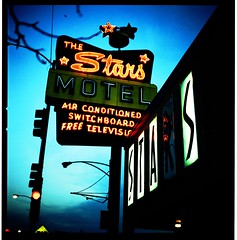 stars (candersonclick) Tags: star motel xprocessed film chicago northside hasselblad slidetoprint colors dusk