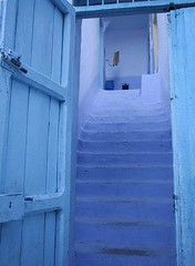 Blue stairs (earth2marsh) Tags: door travel blue topf25 stairs 1025fav topv333 morocco fv10 chaouen rtw 0x547dbc
