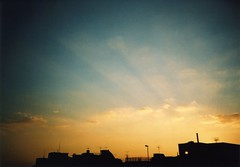 one autumn evening (rahen z) Tags: autumn sky film topv111 japan clouds 1025fav 510fav iso100 tokyo evening lomo twilight toycamera silhouettes 100v10f lomolca agfa  agfaultra