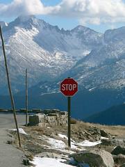 Stop (EyeOfTheJen) Tags: stopsign colorado treeline trailridgeroad scenery mountains