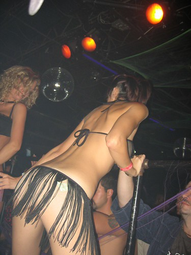 Hot Stripper Dancing in Black Lingerie In Night Club