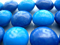 Blue Skittles (Wasabi Joe) Tags: scavengerhunt macro candy skittles blue food sweetcandy sweetscandy