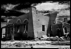 Ghosthouse (Jeff T. Alu) Tags: digital black white photoshop salton sea building surreal moody lonely dark outdoors bleak blackandwhite deserted illusion zen medetation medetate power impact graphic doom bright earthy dirt gritty intense visionary heat passion 4x4 remote california desolate dreamy nightmare euphoric