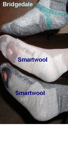 Comparison of three hiking socks