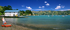 Archive: Akaroa Harbour (@fotodudenz) Tags: new 2001 eve blue red newzealand summer sky panorama green film water 35mm canon boats eos pier boat harbour rangefinder canterbury hills wharf years 24mm top20pano 50 agfa peninsula ultra banks akaroa 10091117 believeinfilm