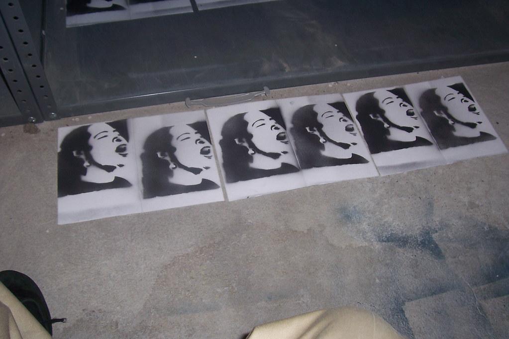 Billie Holiday stencil sticker