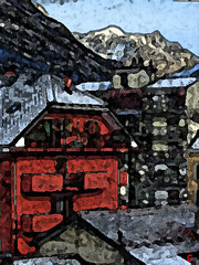 houses (clide) Tags: redhouse city winter digitalpainting