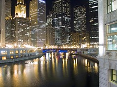 Chicago River (therese flanagan) Tags: city urban chicago topv111 wow interestingness topf50 topv333 nightshot topv1111 explore chicagoriver chicagoatnight thereseflanagan thereseflanagancom nikonstunninggallery chicagonightshots