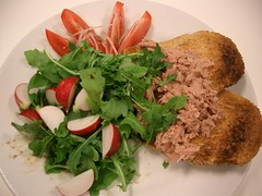 Tuna on Toast with Roquette, Tomato and Radish Salad (avlxyz) Tags: tuna salad radish roquette tomato food casio exilim