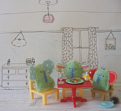 Afternoon tea (mollychicken) Tags: handmade softies elephants biscuits